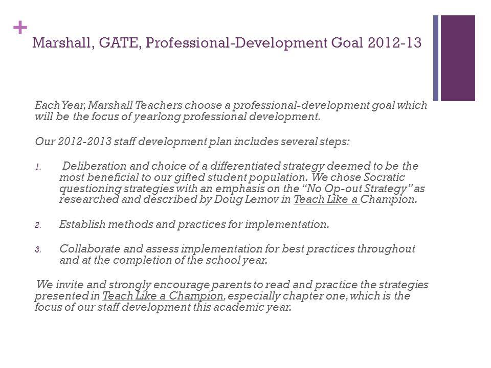 Marshall, GATE, Professional-Development Goal 2012-13