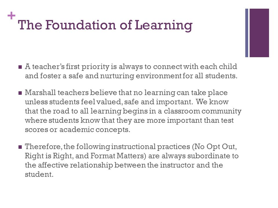 The Foundation of Learning