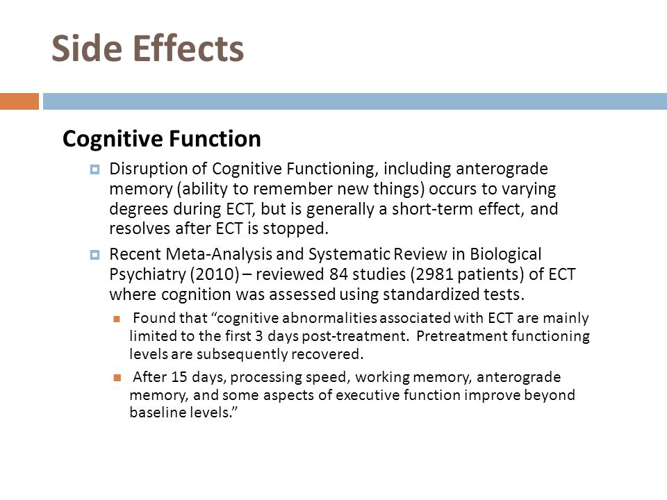 Side Effects Cognitive Function