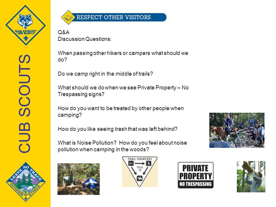 CUB SCOUTS Q&A Discussion Questions: