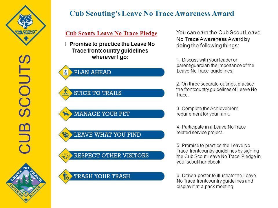 Cub Scouts Leave No Trace Pledge