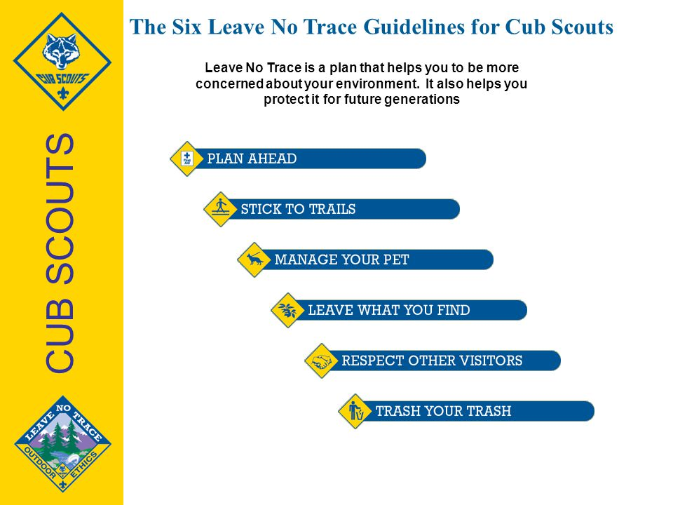 CUB SCOUTS The Six Leave No Trace Guidelines for Cub Scouts