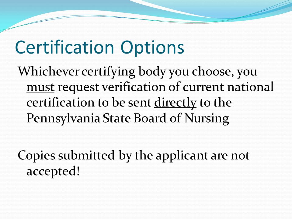 Certification Options