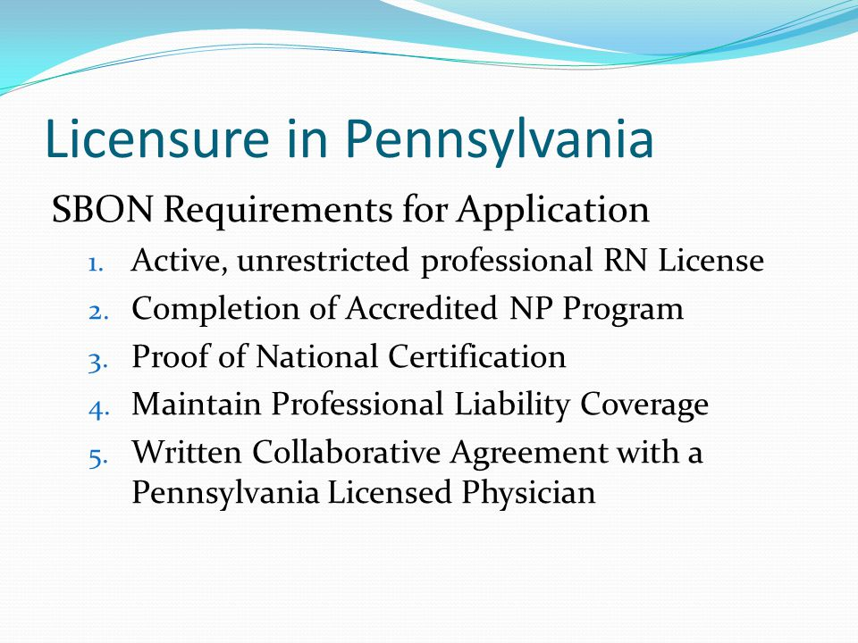 Licensure in Pennsylvania