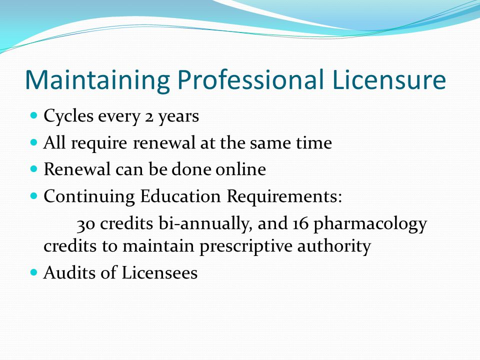 Maintaining Professional Licensure