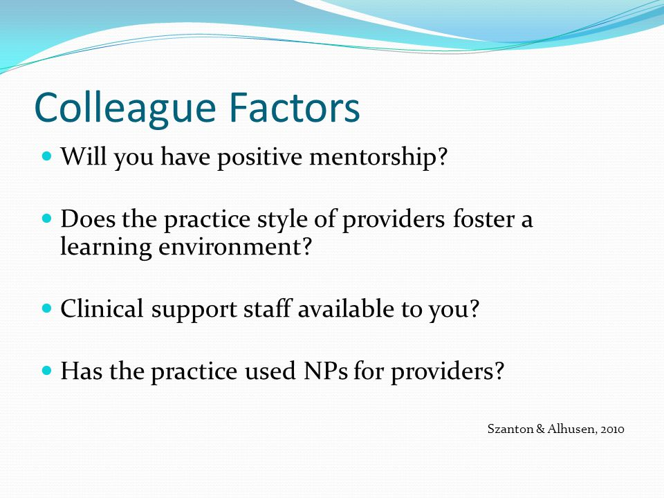 Colleague Factors Will you have positive mentorship