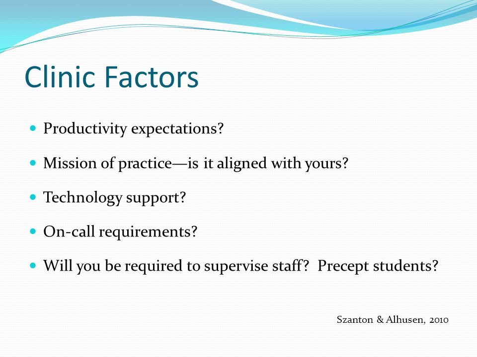 Clinic Factors Productivity expectations