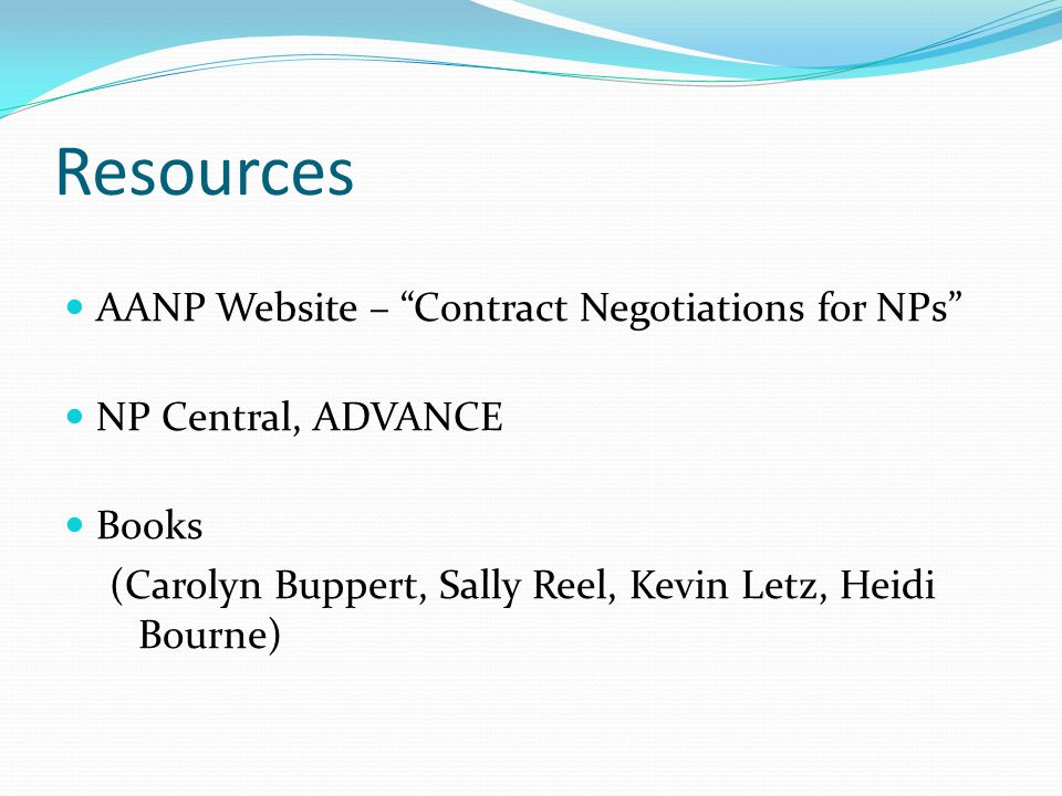 Resources AANP Website – Contract Negotiations for NPs