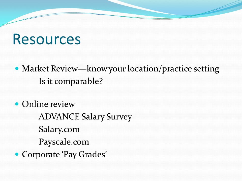 Resources Market Review—know your location/practice setting