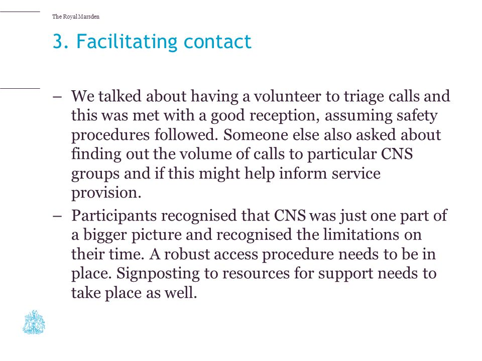 3. Facilitating contact