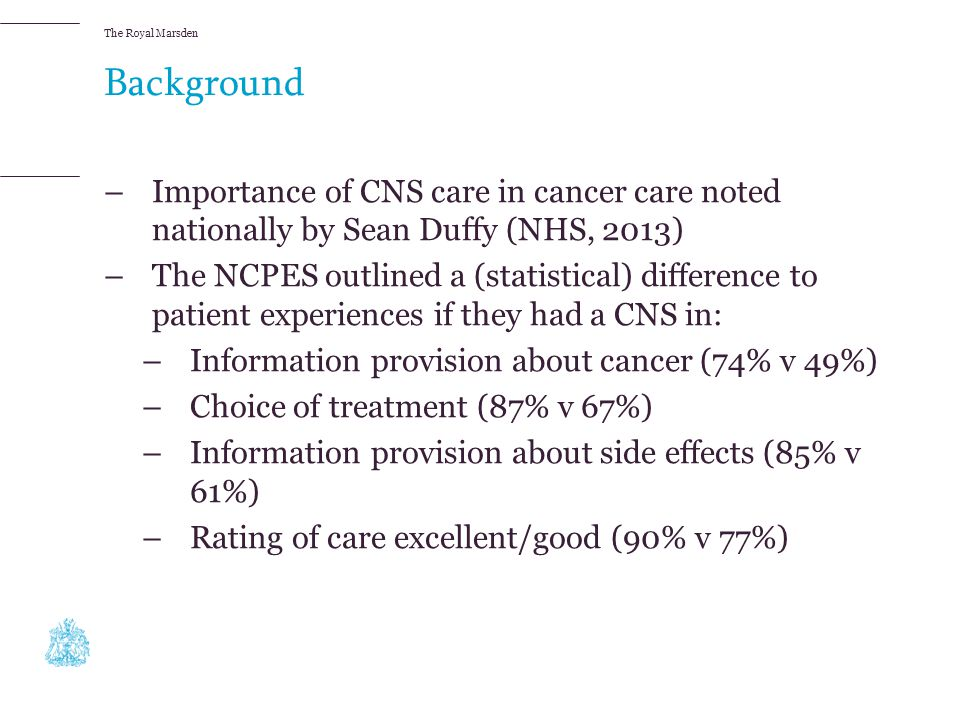 Background Importance of CNS care in cancer care noted nationally by Sean Duffy (NHS, 2013)