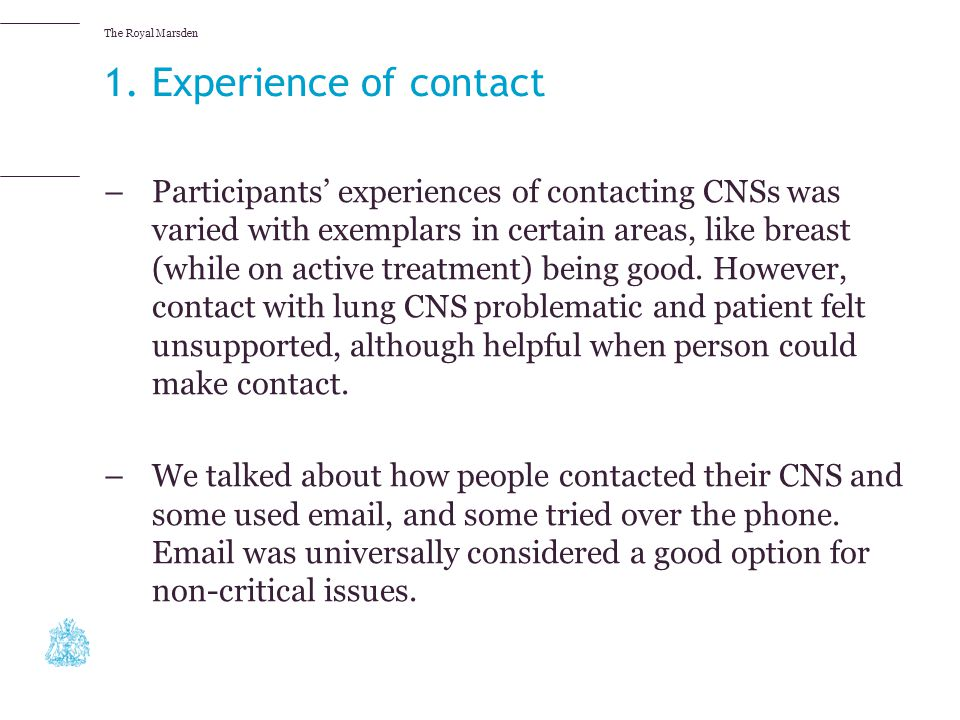 1. Experience of contact