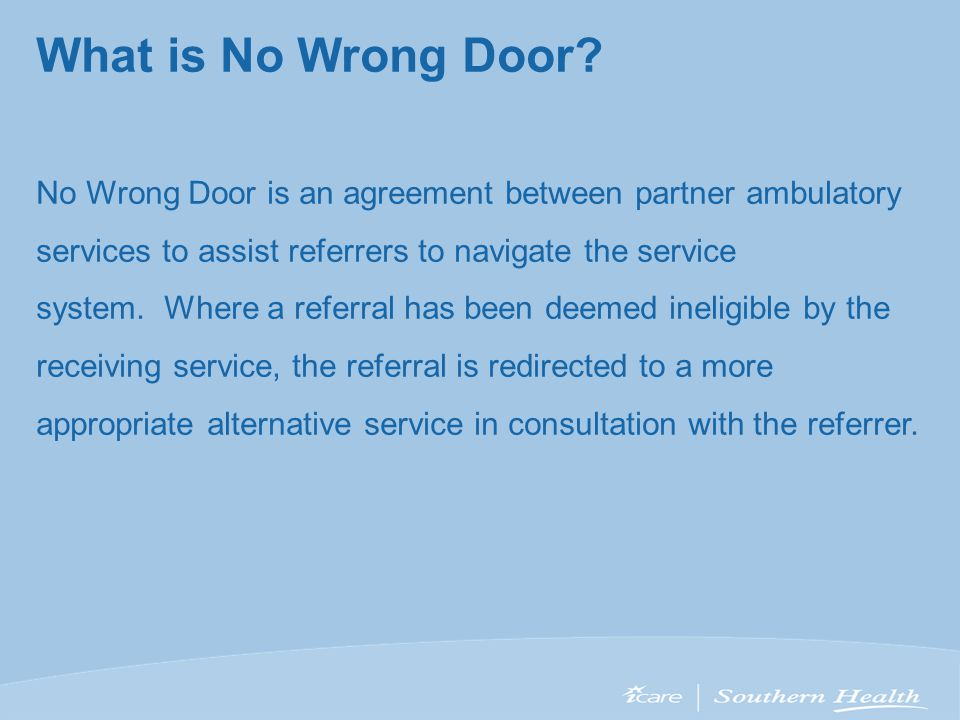 What is No Wrong Door