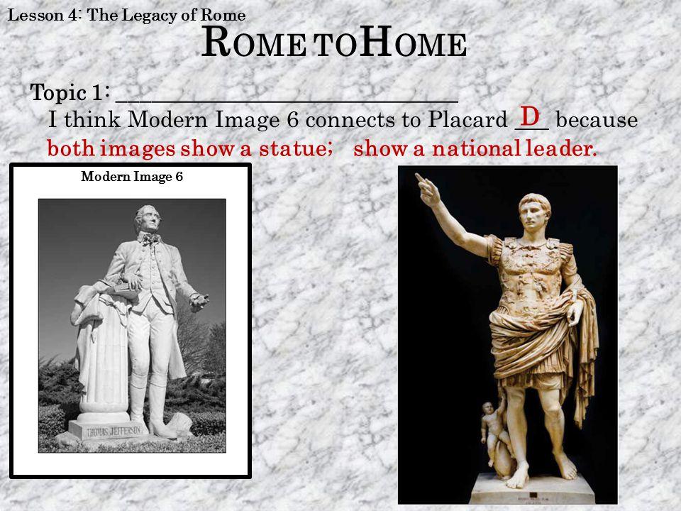 ROME TOHOME D Topic 1: ______________________________