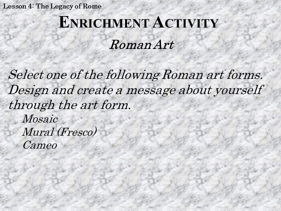 ENRICHMENT ACTIVITY Roman Art