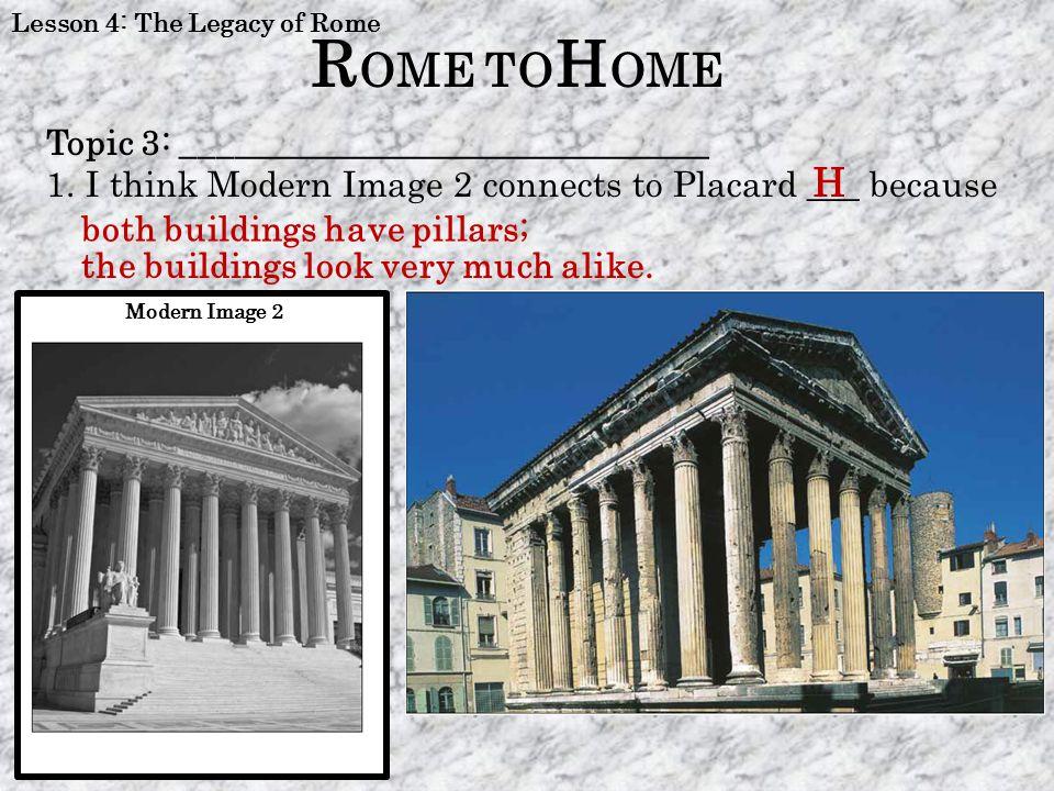 ROME TOHOME H Topic 3: ______________________________