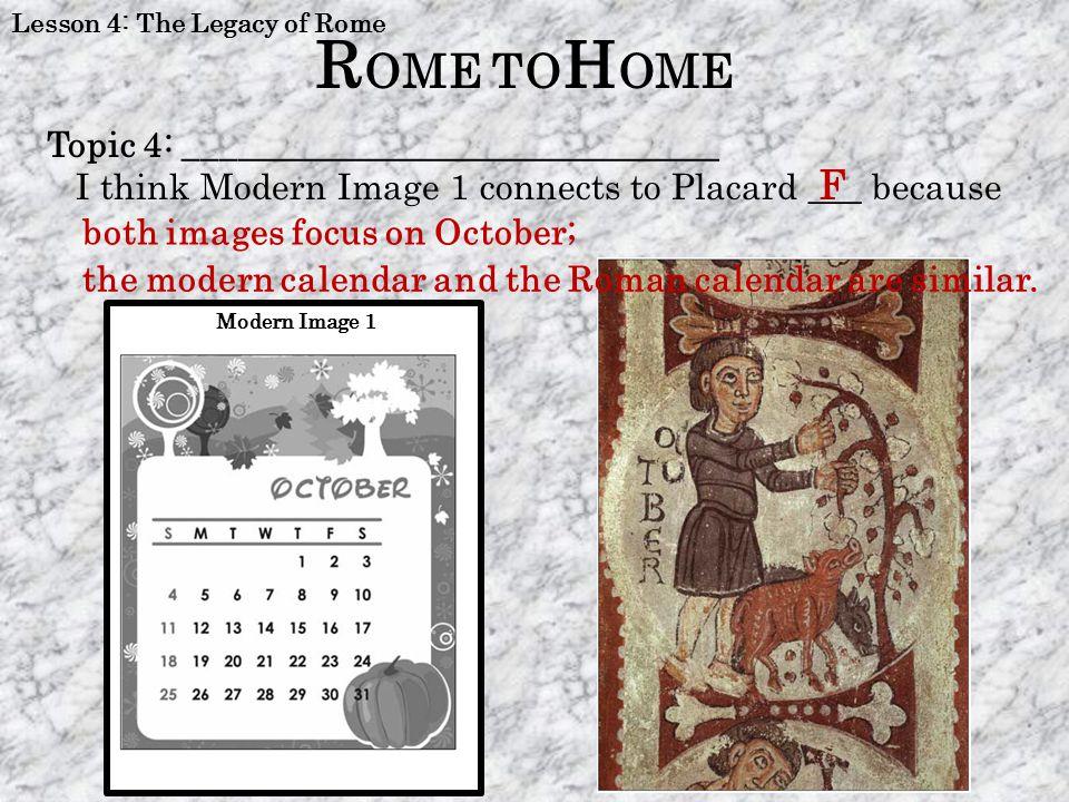 ROME TOHOME F Topic 4: ______________________________