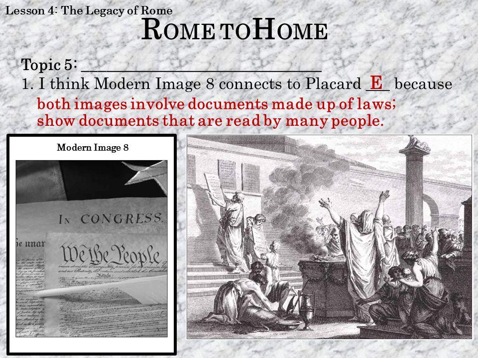 ROME TOHOME E Topic 5: ______________________________