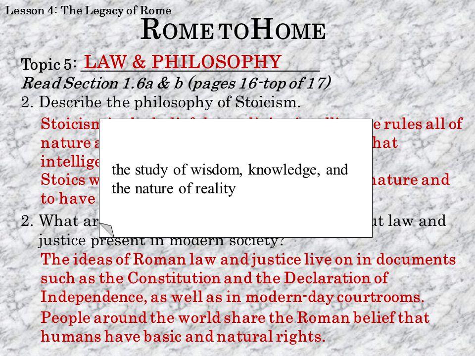 ROME TOHOME LAW & PHILOSOPHY PHILOSOPHY
