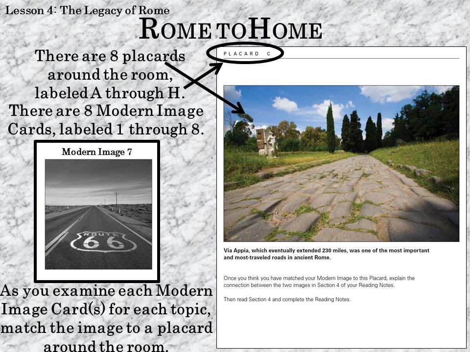 ROME TOHOME There are 8 placards around the room, labeled A through H.