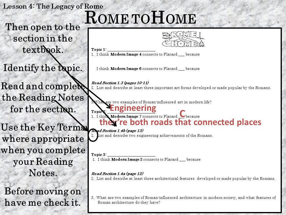 ROME TOHOME C Then open to the section in the textbook.