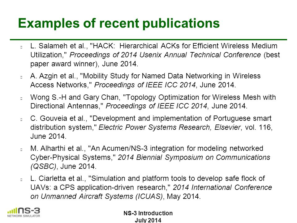 Examples of recent publications