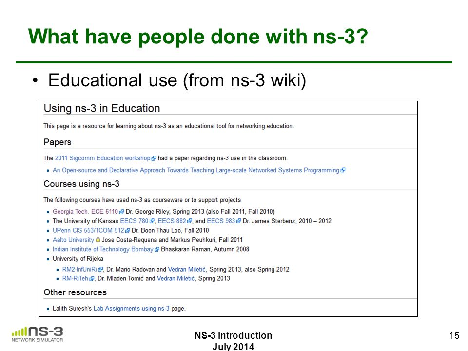 What have people done with ns-3