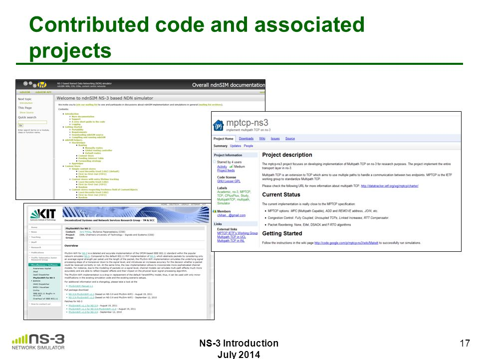 Contributed code and associated projects