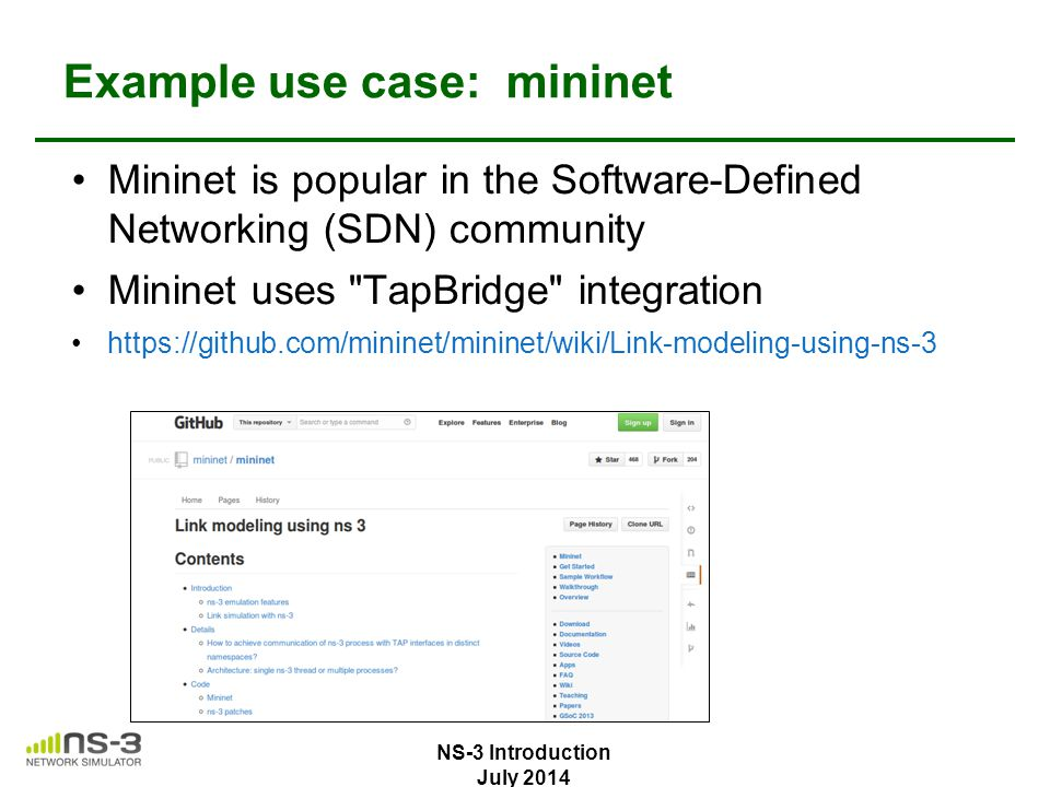 Example use case: mininet