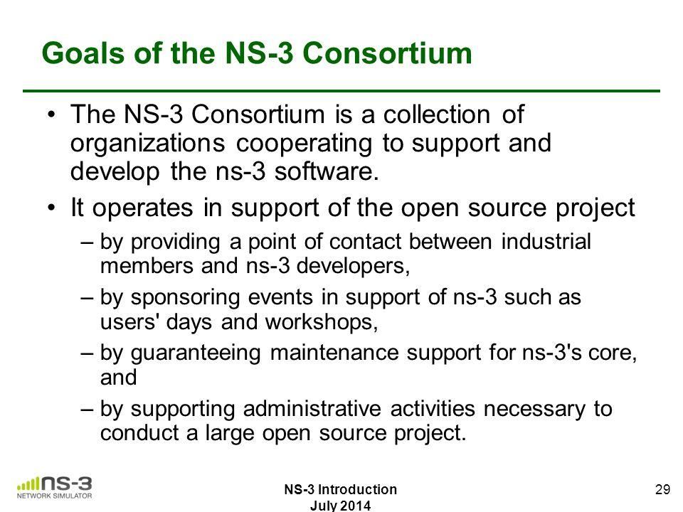Goals of the NS-3 Consortium