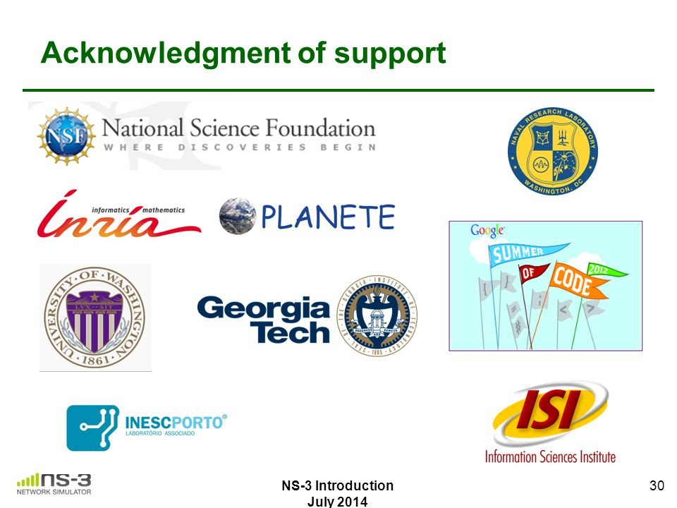 Acknowledgment of support