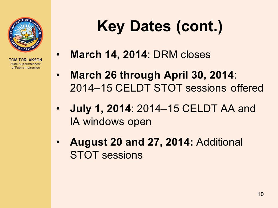 Key Dates (cont.) March 14, 2014: DRM closes