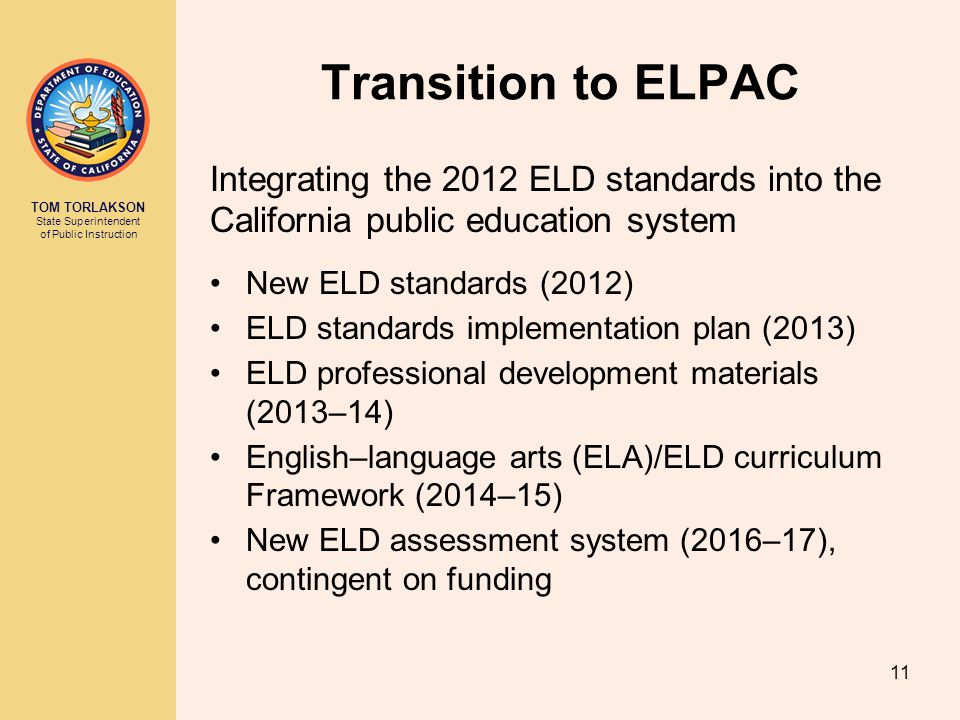 Transition to ELPAC Integrating the 2012 ELD standards into the California public education system.