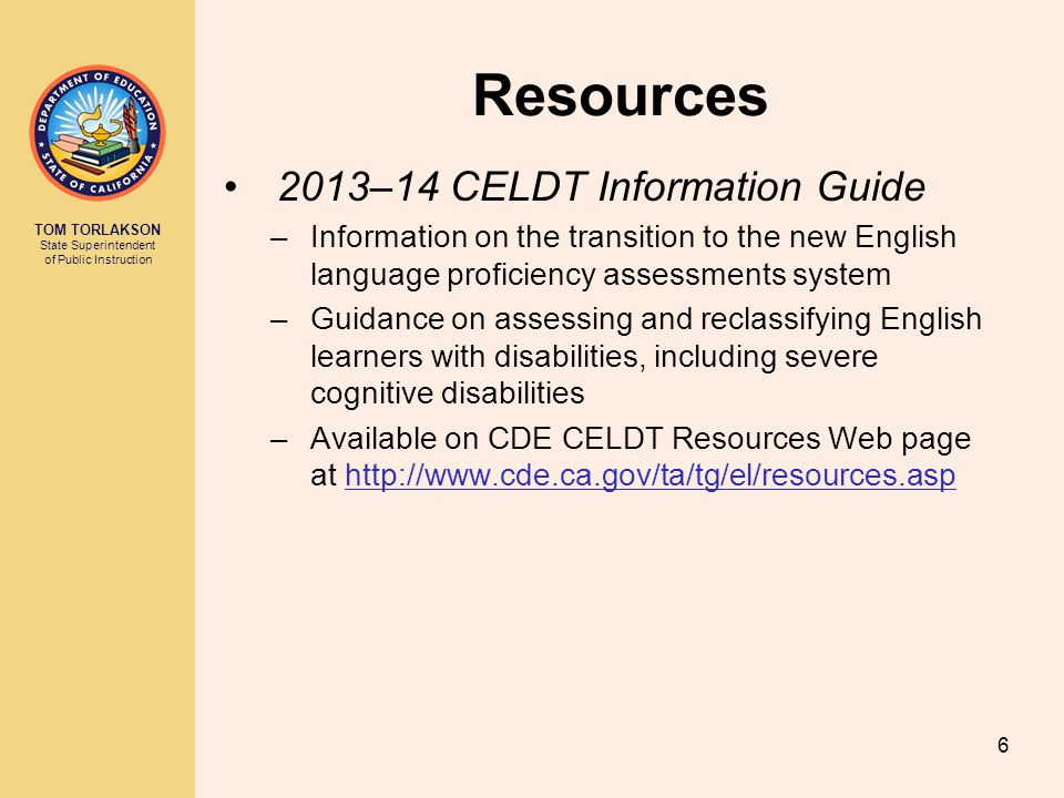 Resources 2013–14 CELDT Information Guide