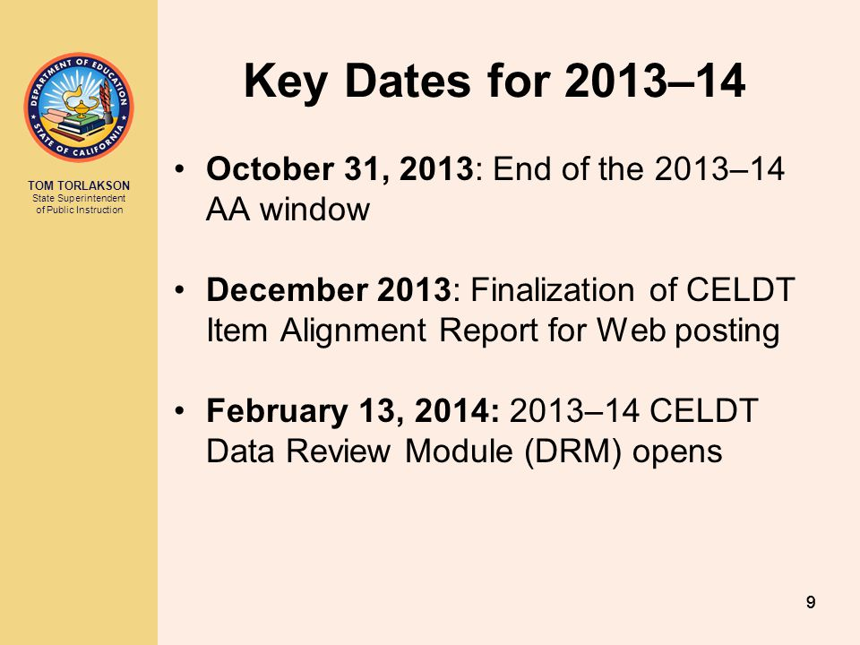 Key Dates for 2013–14 October 31, 2013: End of the 2013–14 AA window