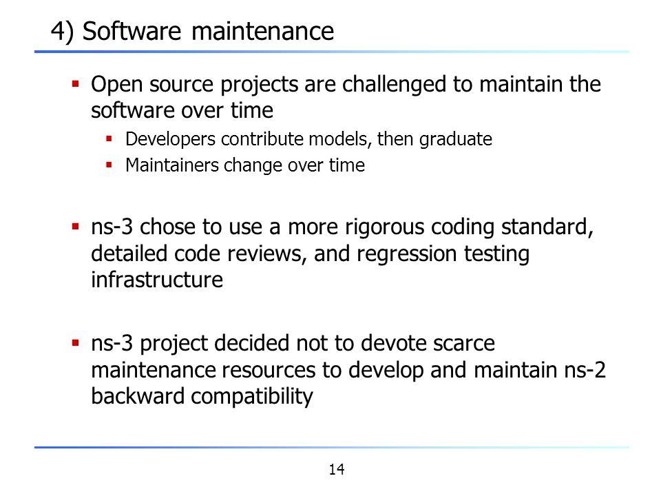 4) Software maintenance