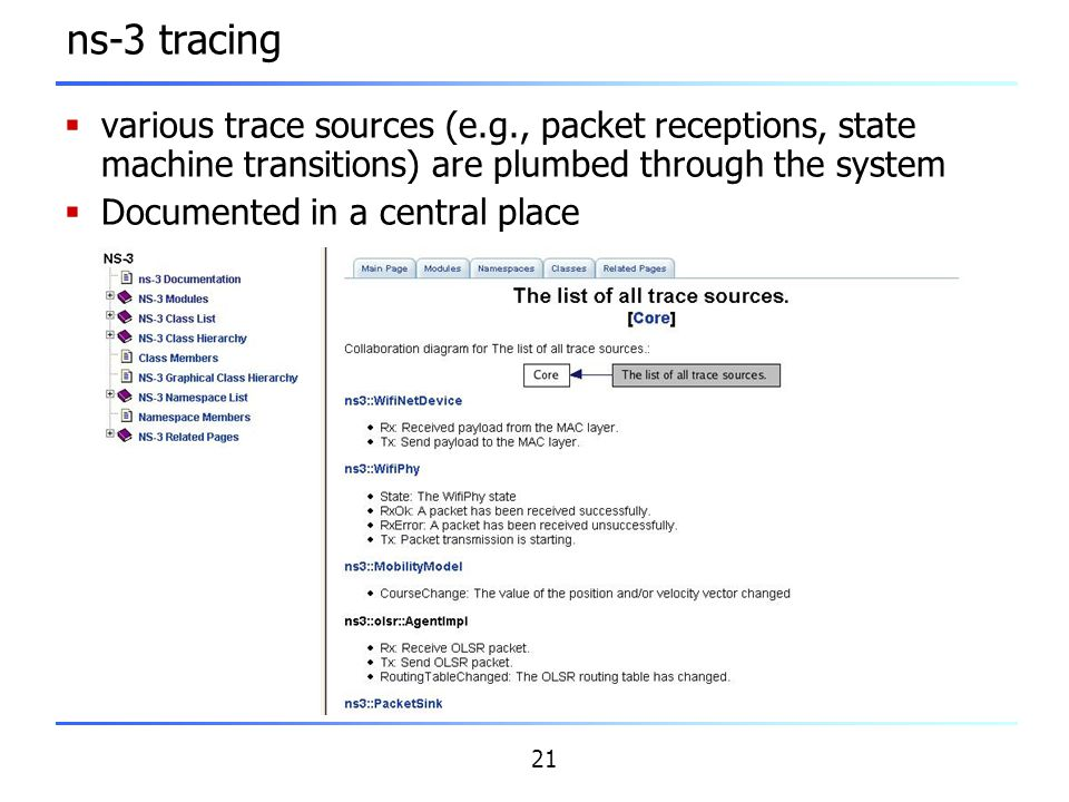 ns-3 tracing various trace sources (e.g., packet receptions, state machine transitions) are plumbed through the system.