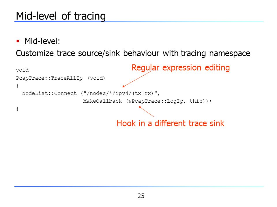 Mid-level of tracing Mid-level: