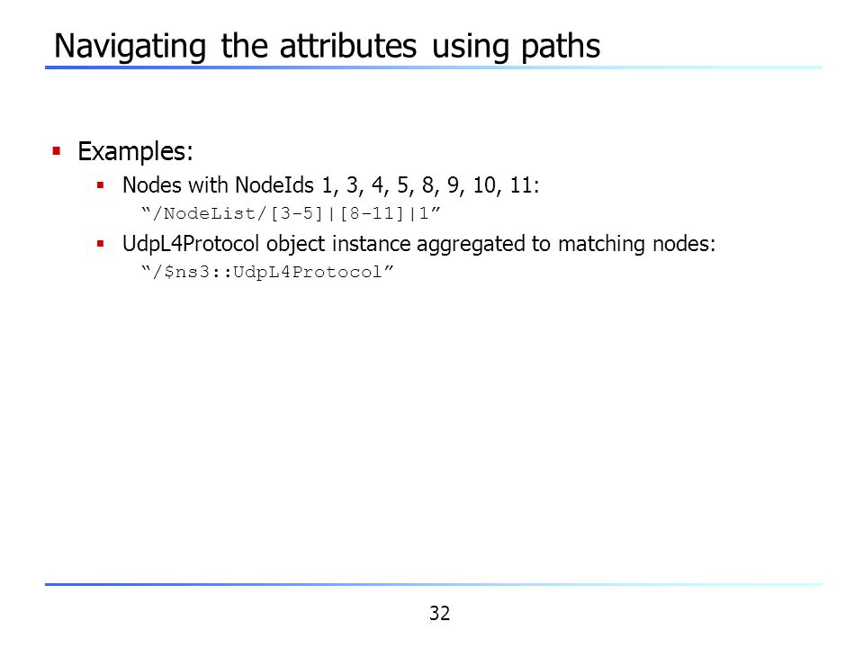 Navigating the attributes using paths