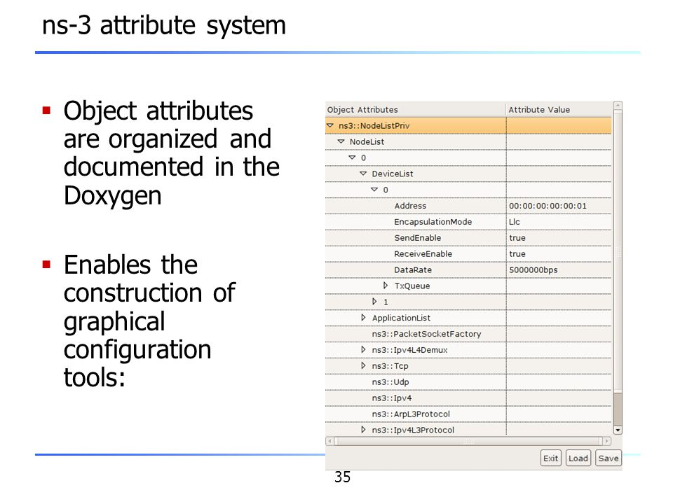 ns-3 attribute system Object attributes are organized and documented in the Doxygen.