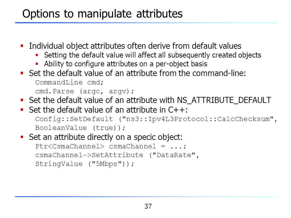 Options to manipulate attributes