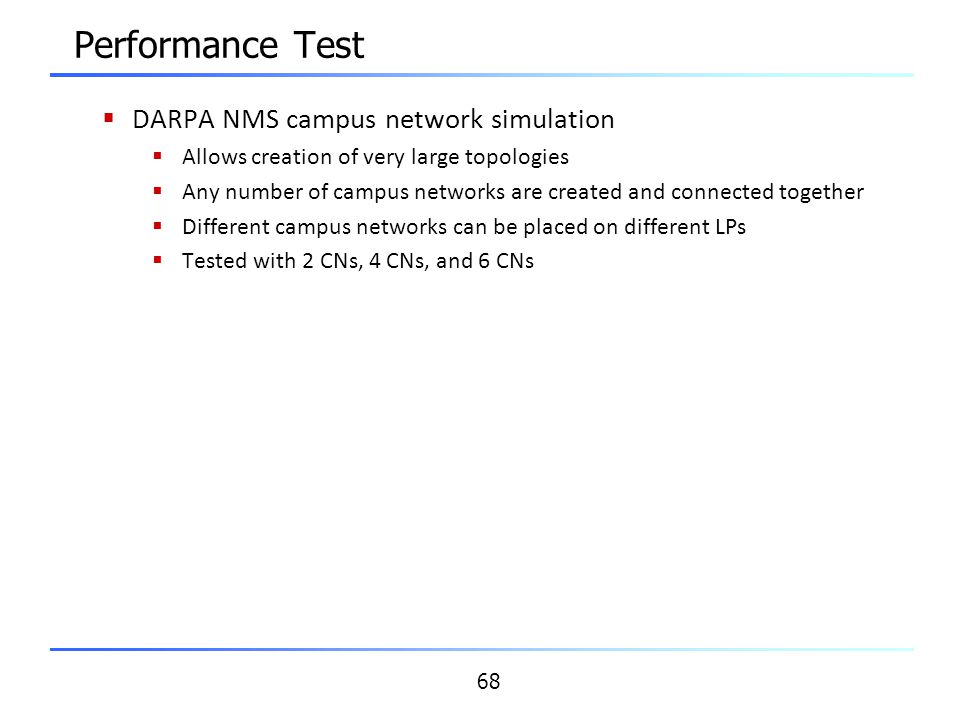 Performance Test DARPA NMS campus network simulation