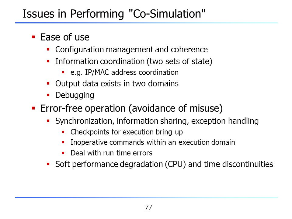 Issues in Performing Co-Simulation