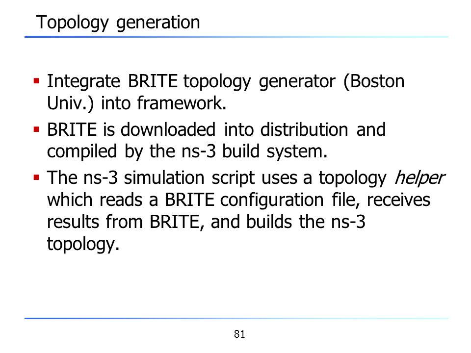 Topology generation Integrate BRITE topology generator (Boston Univ.) into framework.