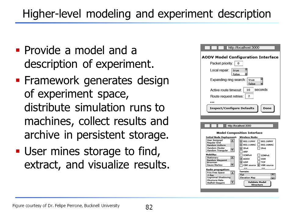 Higher-level modeling and experiment description