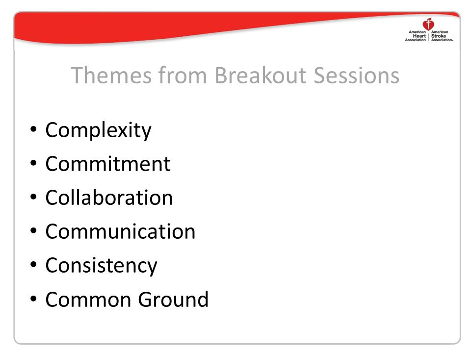 Themes from Breakout Sessions