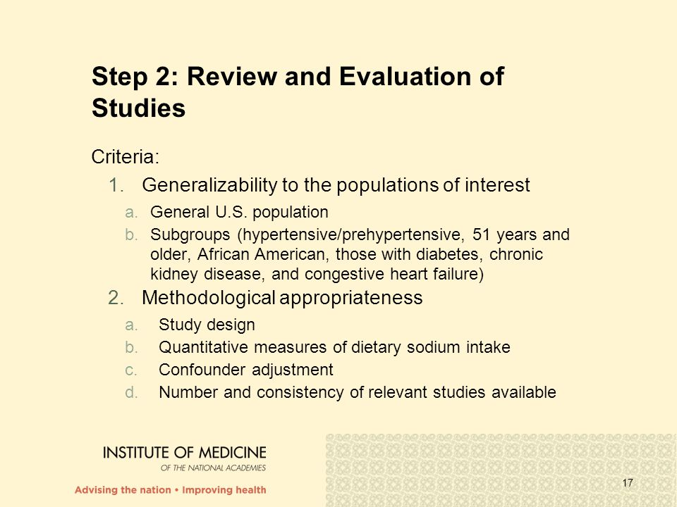 Step 2: Review and Evaluation of Studies
