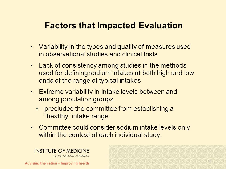 Factors that Impacted Evaluation