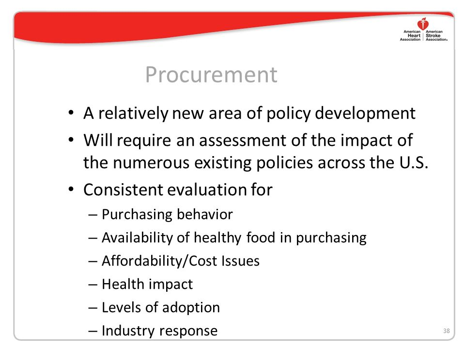 Procurement A relatively new area of policy development