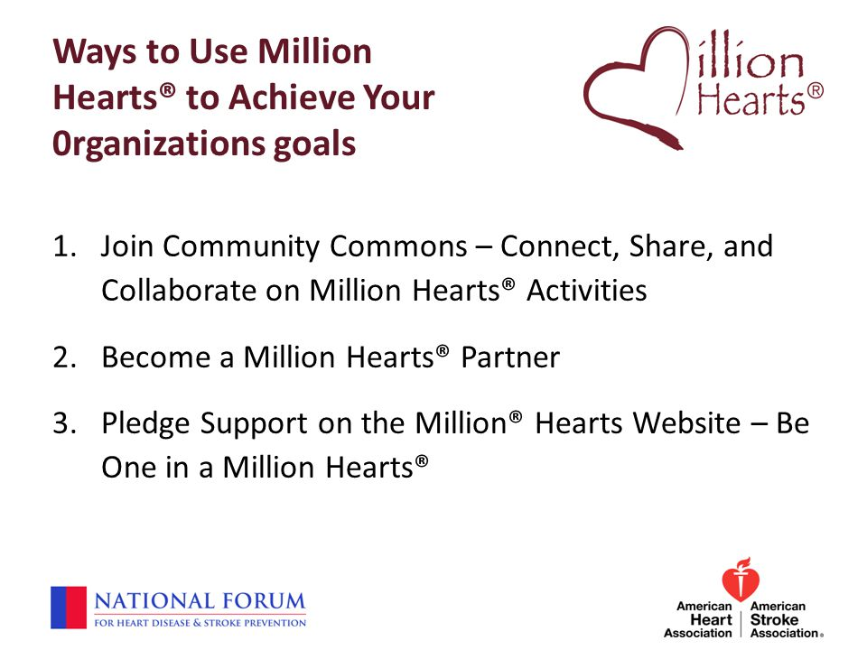 Ways to Use Million Hearts® to Achieve Your 0rganizations goals